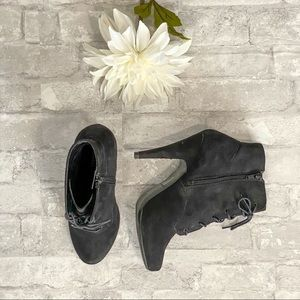 Call It Spring Black Suede Ankle Booties EUC